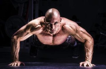 Man Doing Pushups in the gym