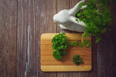 fresh parsley on the cutting board