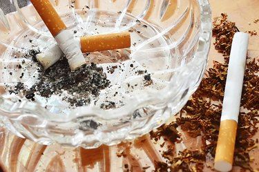 cigarettes extinguished in an ashtray