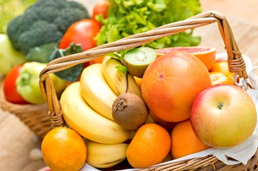 Fruits in wicker basket - close up