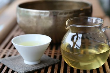 Meditation with Tea and singing bowl