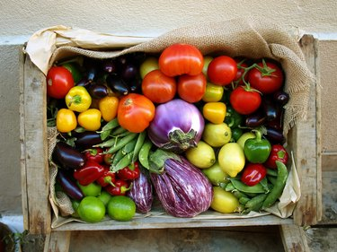 A variety of fresh vegetables in a box