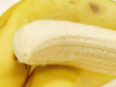Close-up of a peeled banana