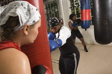 Women boxers training