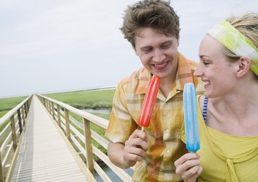 Couple enjoying frozen treats