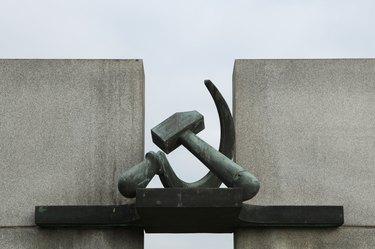 Hammer and Sickle. Soviet War Memorial in Terezin.