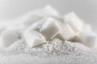 sugar cubes heaped on a pile