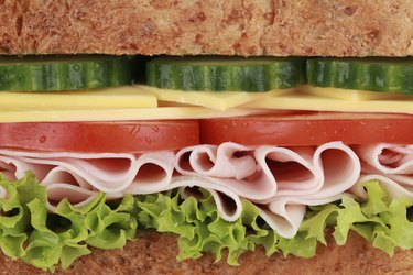 Closeup of a sandwich with ham