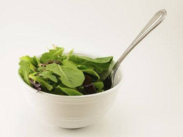 Salad Greens in Bowl with Fork