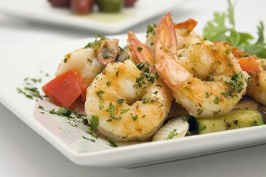 sauteed shrimp with garden vegetables