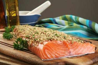 nut encrusted raw salmon
