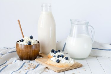 Assortment of dairy products on white