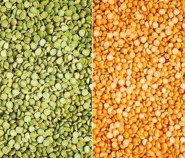 Green and yellow split peas