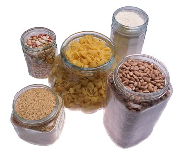 Jars of cereal, beans, flour, grains