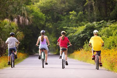 Rear view of four children riding bicycles away from the viewer