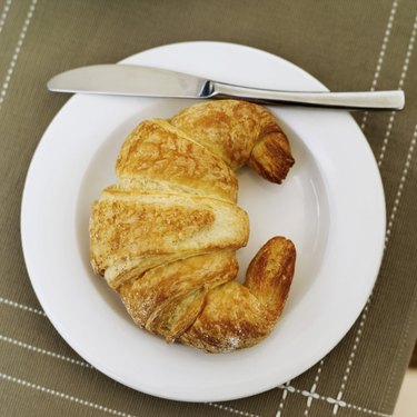 Elevated view of a croissant on a plate