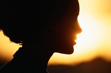 Silhouette of woman, close-up