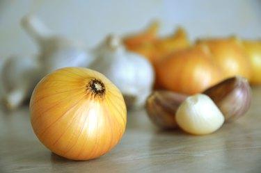 Fresh onions and garlics