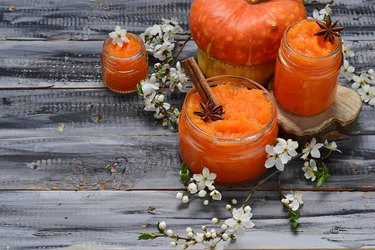 Sweet pumpkin jam in jar