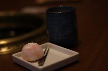 Tasty Ice-cream Mochi and Japanese Tea on Table