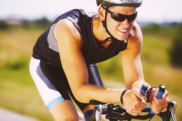 Triathlete cycling on a bicycle