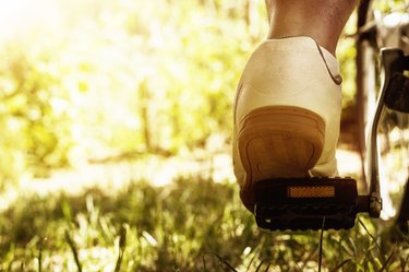 shoe on the bike pedal