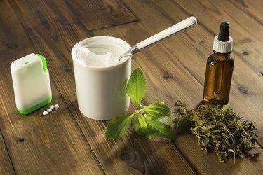 White tablets of stevia