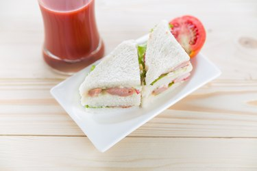 Fresh and tasty sandwiches on plate