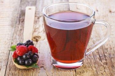 Fruit red tea with wild berries