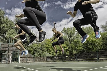Fitness team doing a power jump exercise