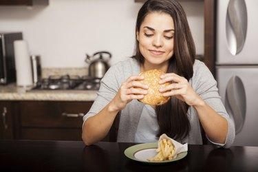 Eating a delicious burger