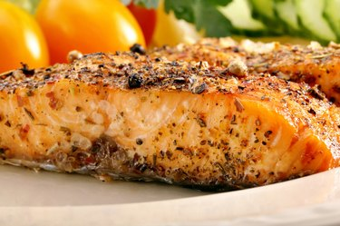 Roasted salmon with herbs and vegetables