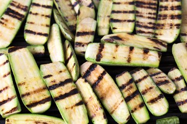 Grilled zucchini on barbecue