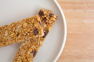 Chocolate chip granola bars on a plate