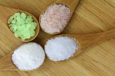 Different Salt in a wooden spoon