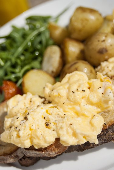 Scrambled Eggs top of toasted bread