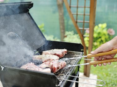 meat for a barbecue outdoors