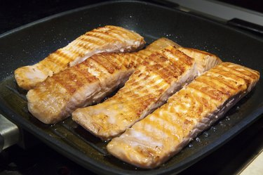 Pieces Salmon in a Pan