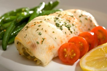 Crab Stuffed Flounder and Tomatoes