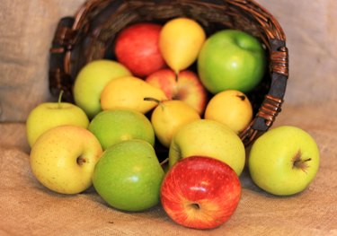 basket of ripe apples and pears