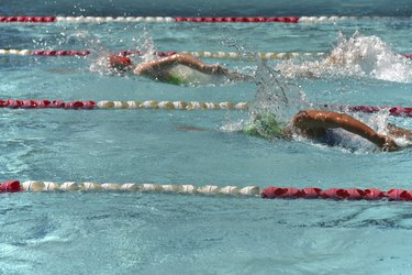 Two female freestyle swimmers