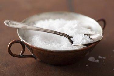 sea salt in vintage bowl and spoon