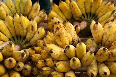 Closeup of tasty ripe bananas