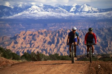 Couple mountain-biking