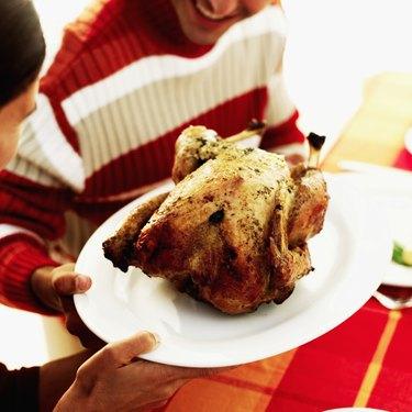 Roast turkey on a plate