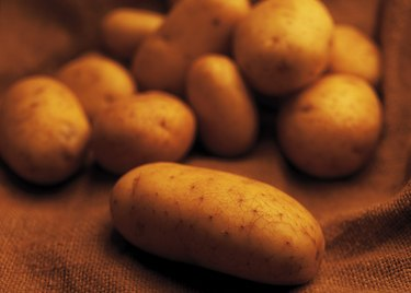close-up of a stack of potatoes