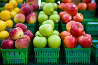 Assorted apples in cartons