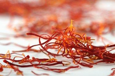 spanish saffron treads super macro shot