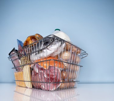 Wire basket full of high protein foods