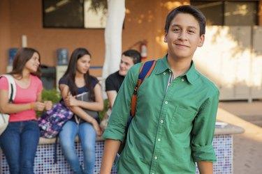 Handsome high school student